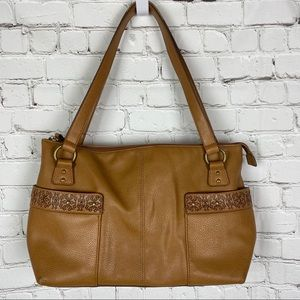 Relic Tan Leather Floral Embossed Satchel Bag